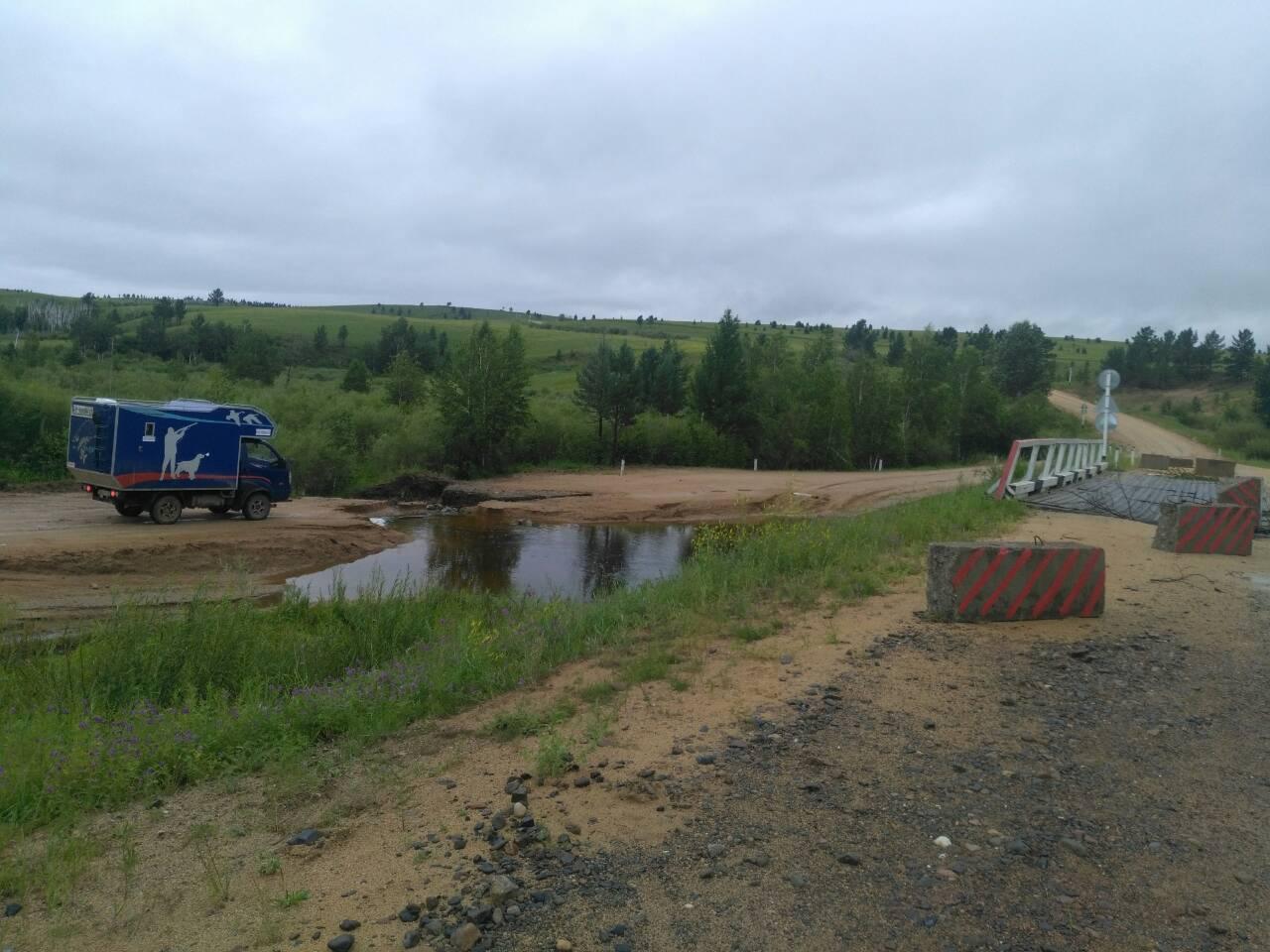 Дорога между поселками Первомайский и Карымское размыта под Урульгой