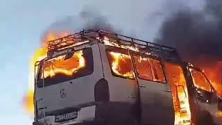 Маршрутка нелегального перевозчика сгорела под Агинском (ВИДЕО)
