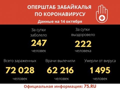 В Забайкалье выявили  247  новых случаев заражения коронавирусом за сутки