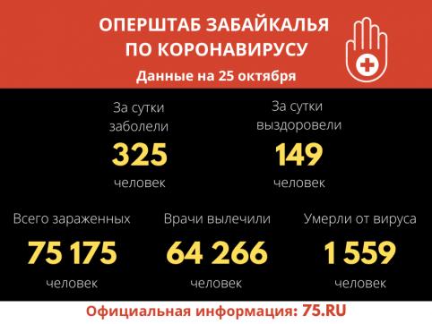 В Забайкалье выявили 325 новых случаев заражения коронавирусом за сутки