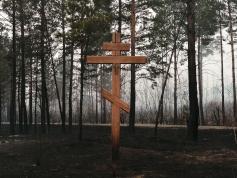 Обгоревшая земля вокруг уцелевшего креста под Лесным Городком. 27 апреля
