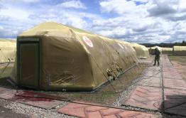 Войска химзащиты обрабатывают полевой госпиталь в Чите (видео)