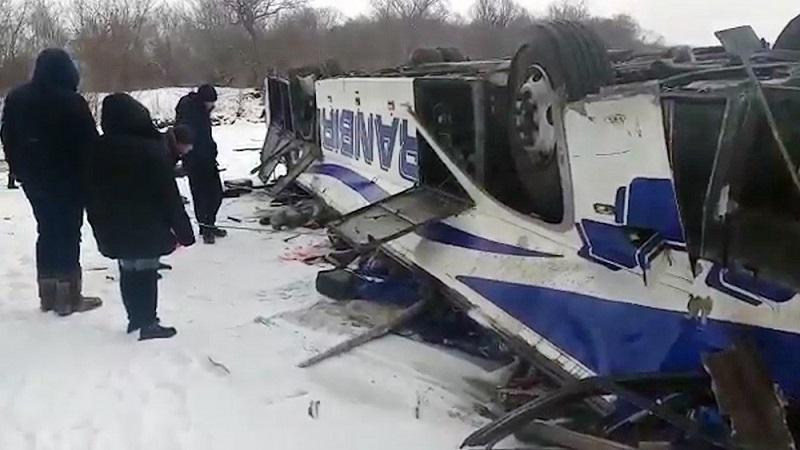 Последствия страшного ДТП с 19 погибшими в Сретенском районе. 1 декабря