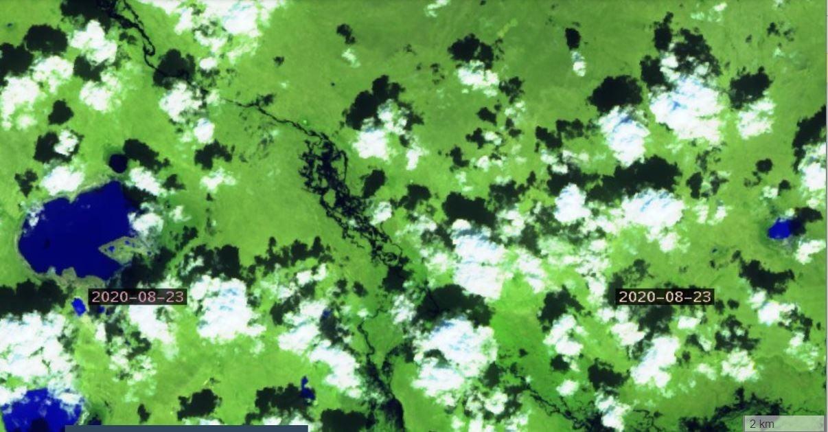 Снимки из космоса, которые показывают, что Торейские озера впервые за много лет начали заполняться водой. Фото со страницы В. Кирилюка