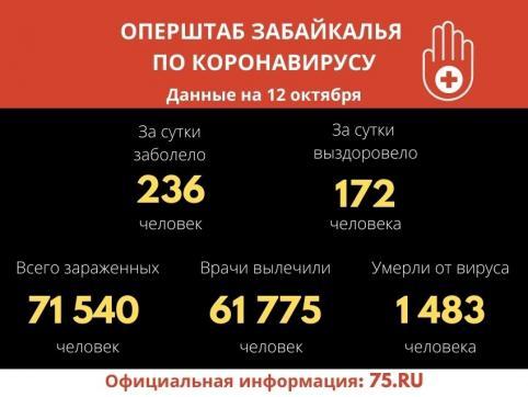 В Забайкалье выявили 236 новых случаев заражения коронавирусом за сутки