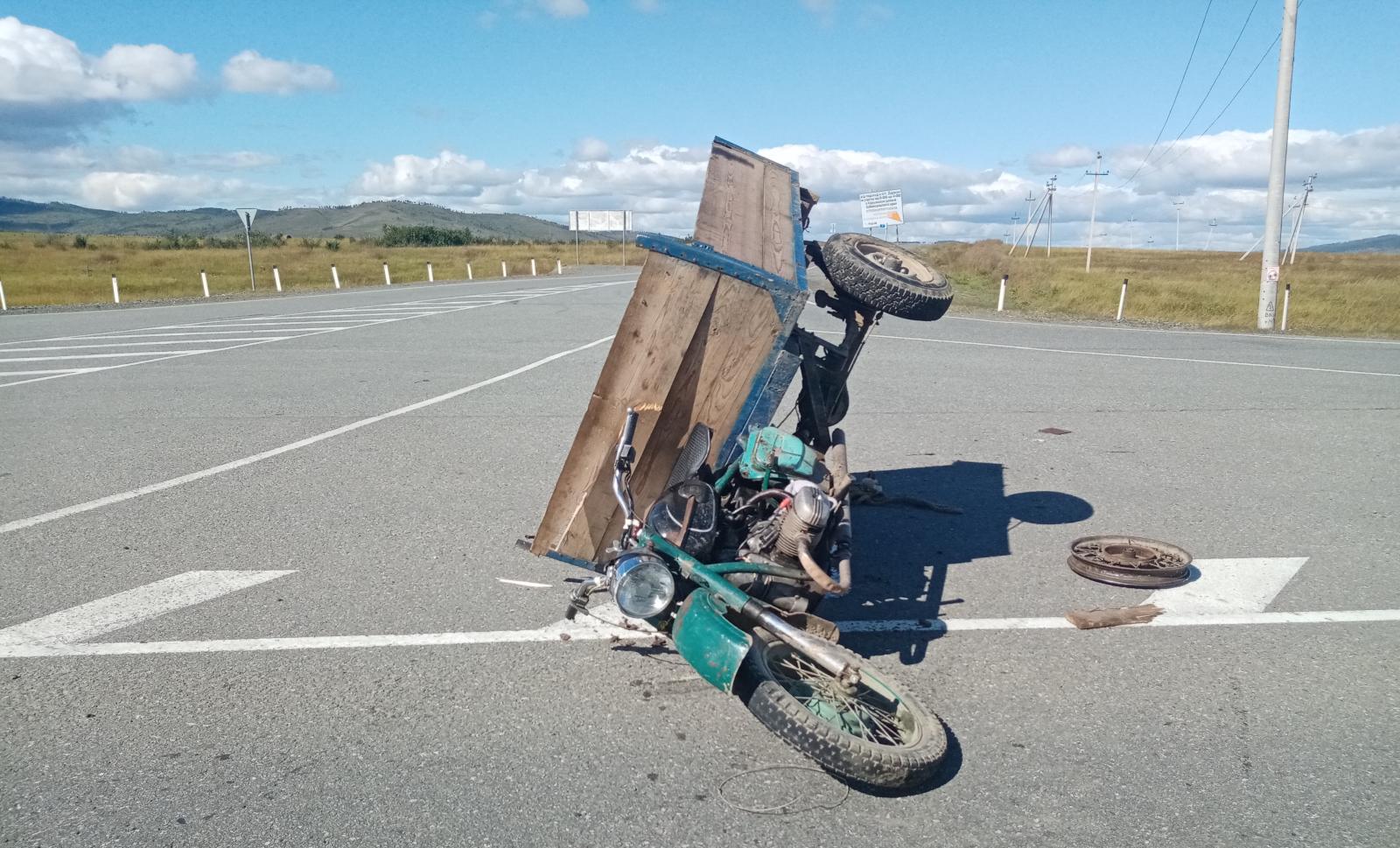 Мотоциклист перевернулся на федеральной трассе Чита-Забайкальск