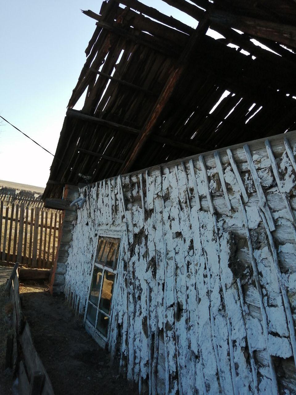 В этом 83-летнем доме, вросшем в землю и крышей из досок, живет мужественная пенсионерка. Дарасун, 13.02.