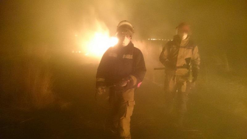 Добровольцам пришлось тушить степной пожар, который Минприроды назвало профилактическими отжигами