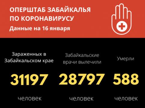 Число зараженных коронавирусом забайкальцев перевалило за 31 тысячу