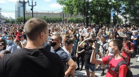 От 5 до 35 тысяч человек вышли на митинг в поддержку арестованного губернатора Хабаровского края