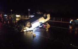 Минимум один человек пострадал в ДТП с перевернутой машиной у Смоленского кольца