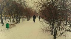 """Минус 15? Не, не слышал. Зимний велосипедист. 21 февраля 2021 год. Чита. Аллея  по улице Горького.Фото """"Вечорки"""""""