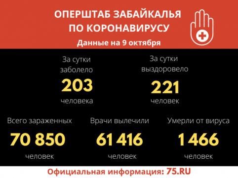 Второй день в Забайкалье зарегистрировали более 200 зараженных коронавирусом