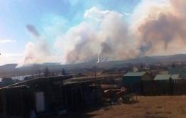 Недалеко от села Александровка горит лес