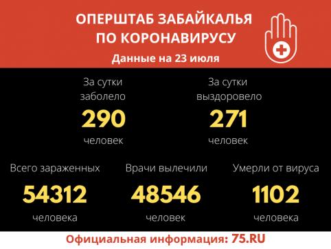 В Забайкалье за сутки 271 человек вылечился от коронавируса